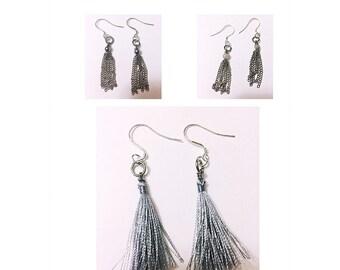 Tassel Drop Earrings - Silver Tassel Drop Earrings - Silver Tassel - Drop Earrings - Chain Earrings