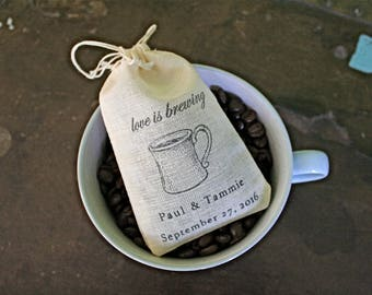 Wedding favor bags, set of 50, personalized, coffee, tea favor bags, Love is Brewing, coffee cup design, Bridal shower, party favor bag