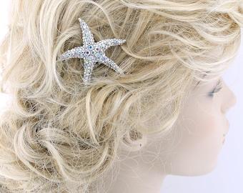 Starfish Hair Comb, Aurora Borealis Beach Bridal Hair Piece, AB Crystal Starfish Hair Clip, Mermaid Wedding Hair Accessory, Starfish Comb