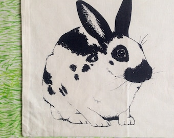 Fair trade rabbit tote bag : Hand silkscreen printed