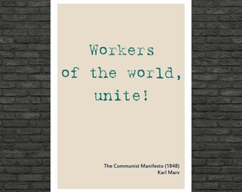 Philosophy art - Karl Marx inspirational poem - educational poster typographic prints on paper or canvas up to A0 size