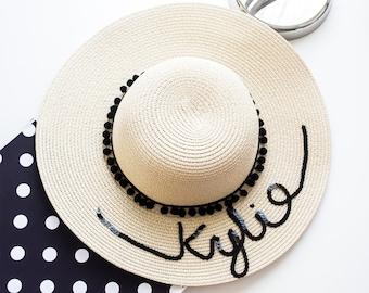 Custom Sun Hat- Sun hat-Beach Hat- Boho Hat- Personalized- Bachelorette Party Hat-Vacation wear-Gift-For-Women-Vacation hat-Custom Gift- Fun