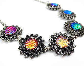 Rainbow Scale Necklace - Rainbow Dragon Scales Choker - Fantasy Necklace - Rainbow Flower Mermaid Scale Jewelry - Mermaid Tail Necklace