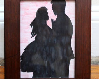 Ink & Colored Pencil Love Silhouette; 5x7 Wooden Frame