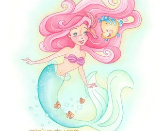 Ariel, Disney, little mermaid, print, princess, wall art, home decor