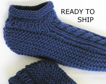 Navy Slippers Mens 8 - 9 or Womens Wide 9 - 10 Low Cuff Cabled, Handknitted,