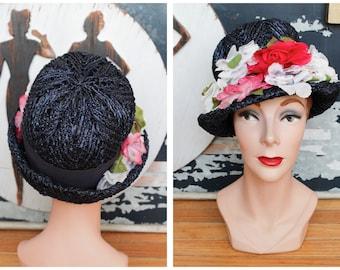 1960s Hat // Ken Blair Raffia Woven Floral Hat // vintage 60s hat