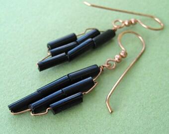 Black Glass Weave Copper Earrings