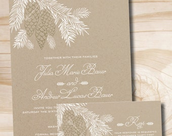 Rustic Pinecone Wedding Invitation and Response Card Sample  Invitation Suite