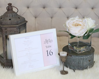 "Wedding Reception Menu - Combined with Table Number - 8"" x 10"""