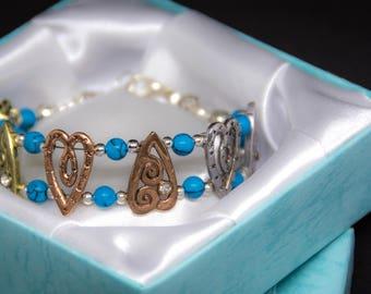 True Love/ Turquoise/Plated Silver Charm Bracelet/  Handmade Charm Bracelet/ Energy Protection Bracelet/ Bracelet for Her/ valentine's gift