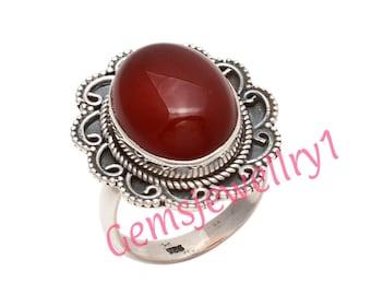 Carnelian Ring, Gemstone Ring, Large Carnelian Ring, Red, Modern,Simple,Everyday,Gift,Gemstone Jewelry,US Size 5 6 7 8 9 10 11 12 13 14   16