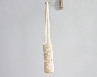 Eco Friendly Water Bottle Holder, Off White Bottle Carrier,  Crochet Cotton Water Bottle Tote Bag,