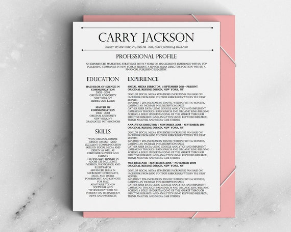 Carry Jackson Modern 2 Page Fancy Resume Cover Letter Template For  Microsoft Word   Fancy Resume  Fancy Resume