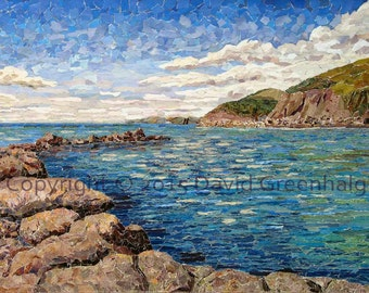 View from Portwrinkle harbour. - Signed Fine Art Giclée Prints. Blue sea scene, contemporary art print.