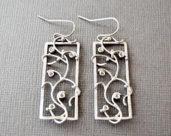 SALE Silver Vine Earrings, Sterling Earring, Silver Drop Earring, Filigree, Vine, Flower, Gifts for Her