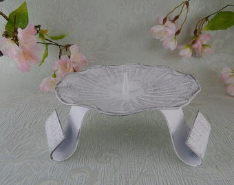 Candle Stand White-Silver 12 cm