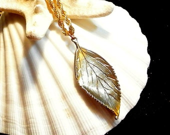Gold Leaf Pendant Necklace, Vintage Gold Tone Leaf Necklace, 17 Inch Gold Chain, Anniversary Gift