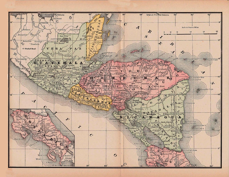Map of guatemala costa rica honduras from 1891 a printable zoom sciox Choice Image