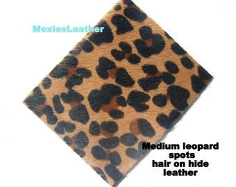 Hair on leather pieces- hair on hide print leather - leopard and zebra print leather - leather hide with hair on -