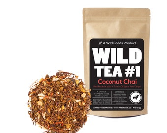 Coconut Chai, Red Rooibos Loose Leaf Tea Blend, Wild Tea #1 Herbal Chai Tea (8 ounce)