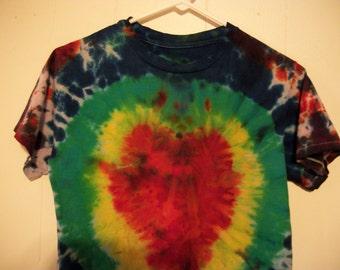 Tiedye heart tee shirt