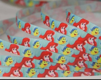 The Little Mermaid Inspired 3/8 Inch 9mm Ribbon- By the Yard