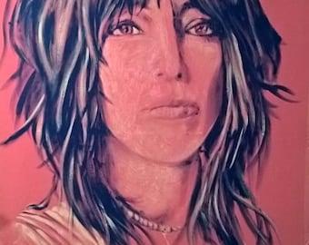 "Reyaz Nadi - Patti Smith Acrylic on Canvas 48""x32"" framed"