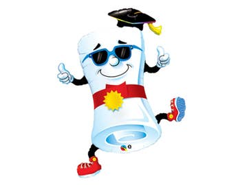 diploma balloon, graduation party decor, nursing school grad, thumbs up, way to go, congratulations, high school graduate, you did it