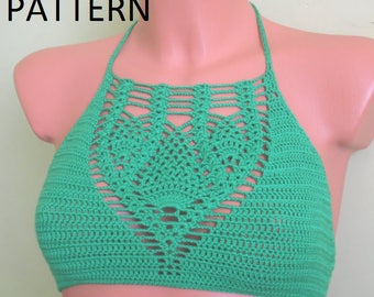 Crochet Halter Top Pattern, Halter Top Pattern, Bikini Top Pattern, Bustier Pattern