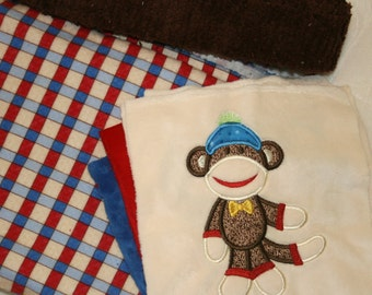 "Baby Quilt Kit Minky Appliqued ""Sooo Lovable Sock Monkey"""