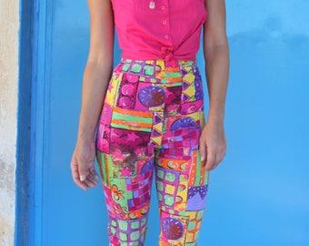 Vintage pink stretch cotton button down shirt top.size s,m,L