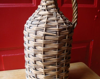 Antique Civil War Era 1860's Wicker Bottle