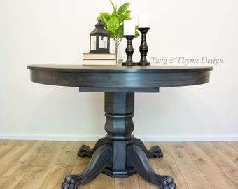 SOLD   Antique Tiger Oak Paw Foot Table With Pedestal Base Hand Painted  Grey And Black