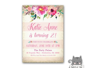 Floral 2nd Birthday Invitation Girl, Floral 1st Birthday Invitations, Watercolor Flowers, Pink and Gold, Printable or Printed, Floral Invite