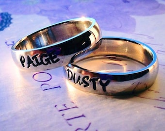 """Personalized Ring, Engraved Ring, Personalized/Engraved Ring """" Wedding Band Style"""", name Ring, Class Ring WBSS02"""