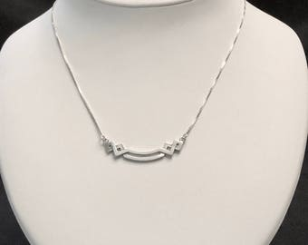 Delicate Sterling Silver Necklace with Art Deco Festoon