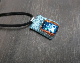 Silver/Orange and Blue Dichroic Glass Necklace