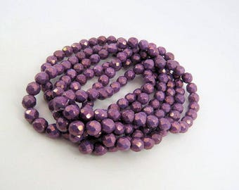 Czech Purple Luster Beads 8MM Round Faceted Fire Polished Opaque Pressed  Glass 15 Beads FP8MM017