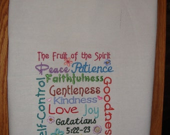 Fruit of the Spirit flour sack kitchen tea towel, machine embroidery, Bible verse
