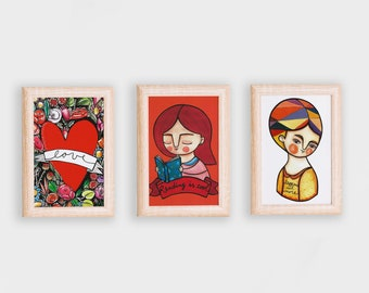 Miscellany red postcards, mix & match illustrations set of 6