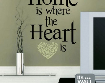 Home is where the Heart is Vinyl Wall Decal Quote - Living Room or Bedroom Wall Decal Sticker