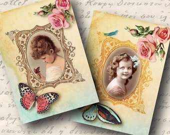 Adorable Atc AceoTags, Digital Collage Sheet, Download and Print Jpeg Images