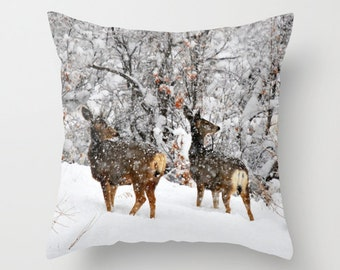 Christmas Does Pillow, Throw Pillow, Deer Cabin Decor