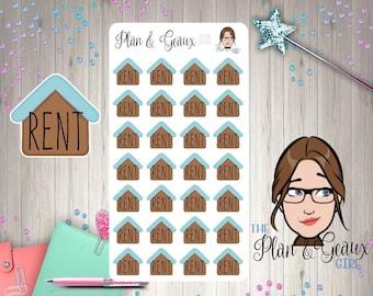 Rent Due Planner Stickers, House Rent Stickers, Rent Stickers, Erin Condren,  Happy Planner, Bullet Journal, FUN-560