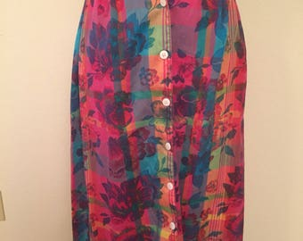 Multicolor rainbow middie length 90s skirt