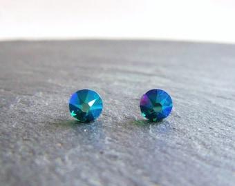 Blue crystal stud earrings, Swarovski post earrings, Blue Zircon Shimmer, surgical steel earrings, 5mm crystal earrings, small studs