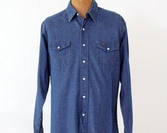 Wrangler denim shirt, vintage men's large snap front shirt