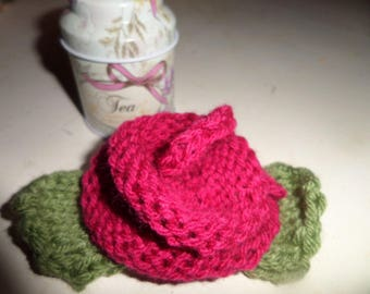 hair accessory with rose knit handmade