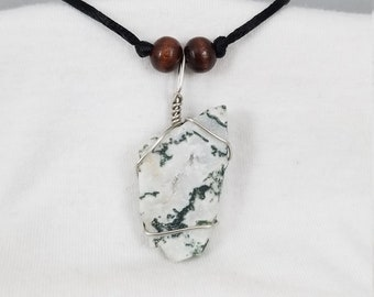 Tree Agate Necklace - Tree Agate Pendant - Tree Agate Jewelry - Raw Crystal Necklace - Wire Wrapped Jewelry - Healing Crystals - Reiki Stone